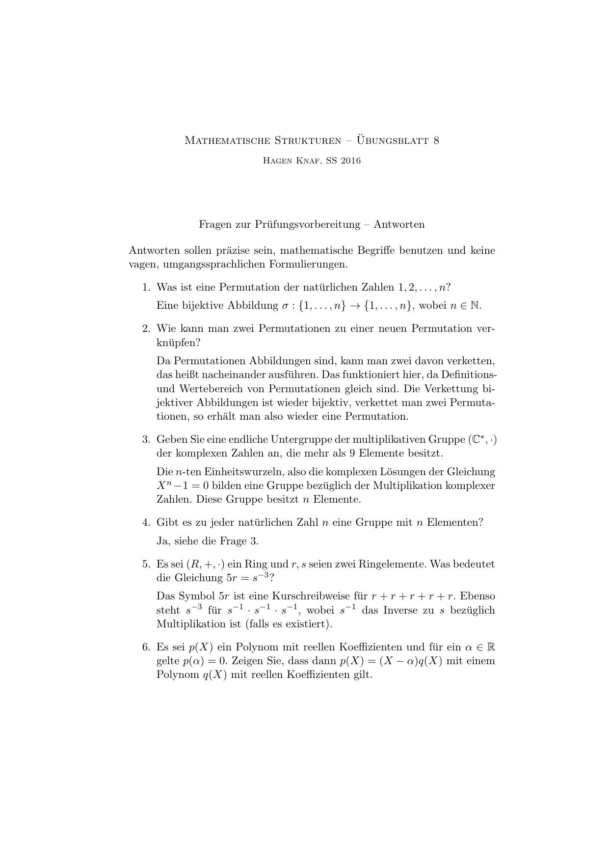 Mathematische Strukturen – ¨Ubungsblatt 8 Fragen zur