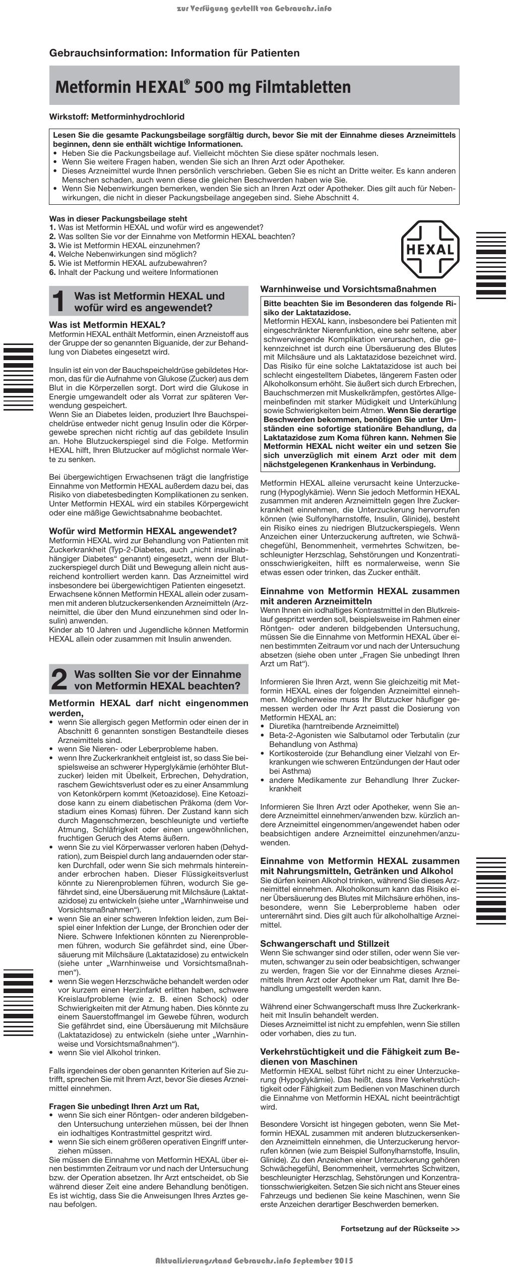 Metformin HEXAL® 500 mg Filmtabletten