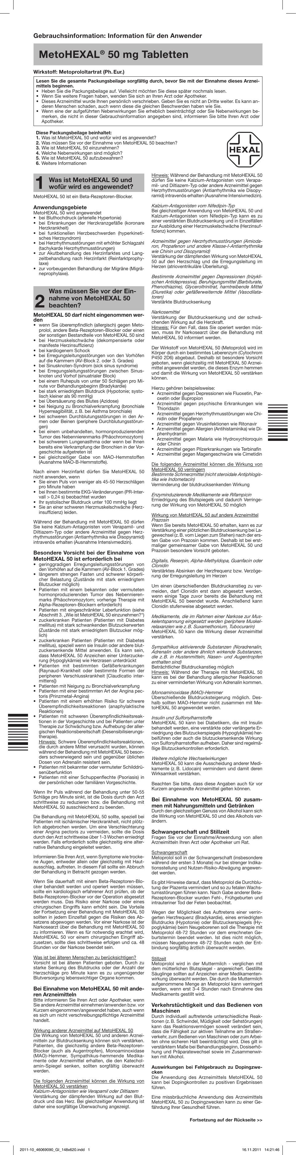 MetoHEXAL® 50 mg Tabletten - medikamente-per