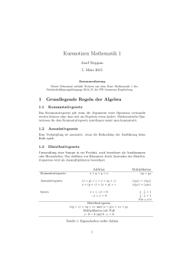 Kursnotizen Mathematik 1