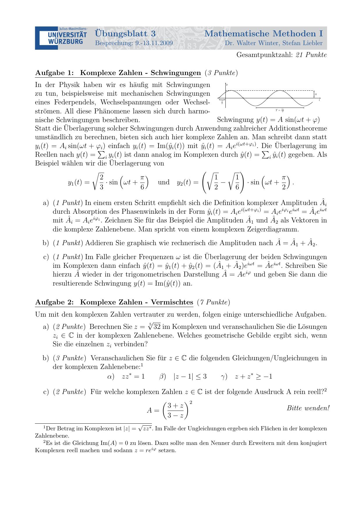 Ubungsblatt 3 Mathematische Methoden I