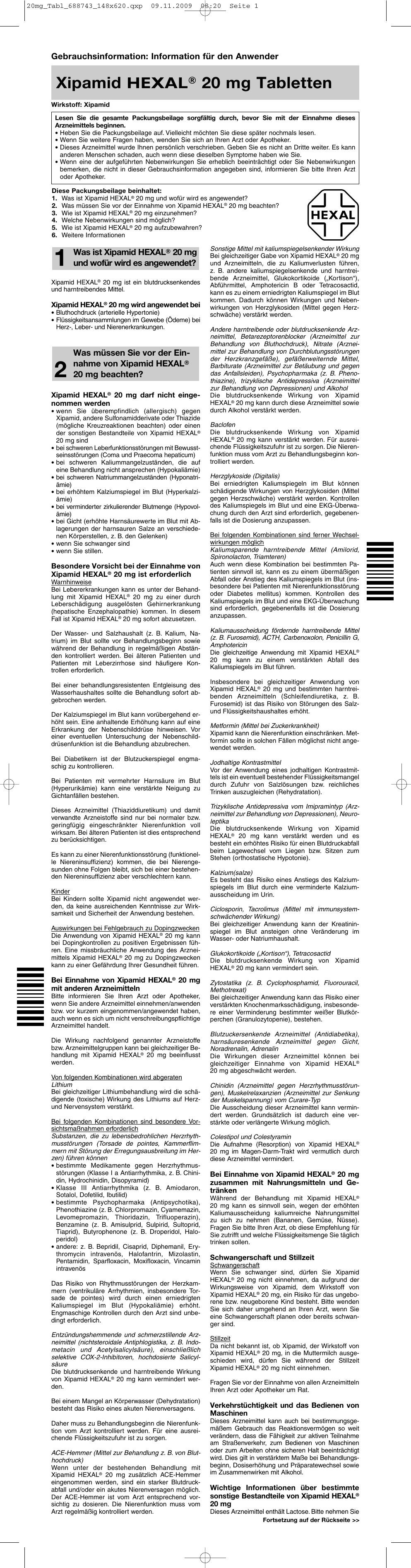 Xipamid HEXAL® 20 mg Tabletten - medikamente-per