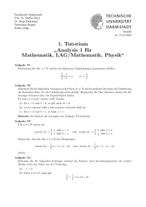 Analysis 1 für Mathematik, LAG/Mathematik, Physik