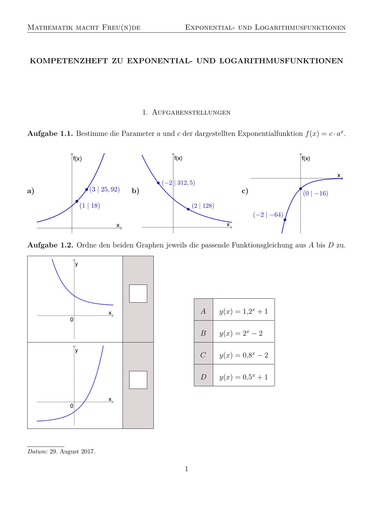 Exponential- und Logarithmusfunktionen