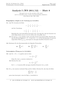 Analysis I (WS 2011/12) — Blatt 8