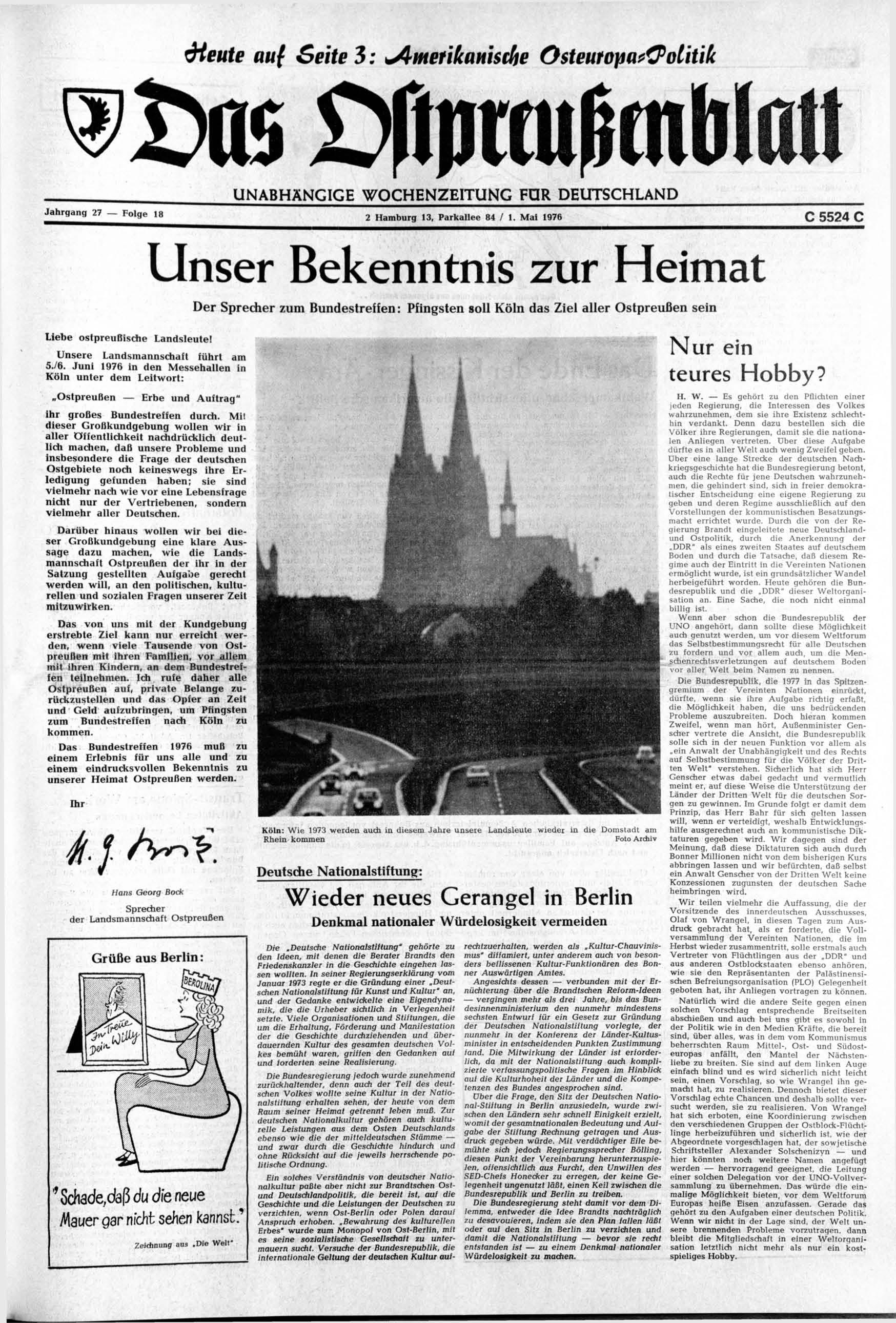Unser Bekenntnis Zur Heimat Preussische Allgemeine Zeitung
