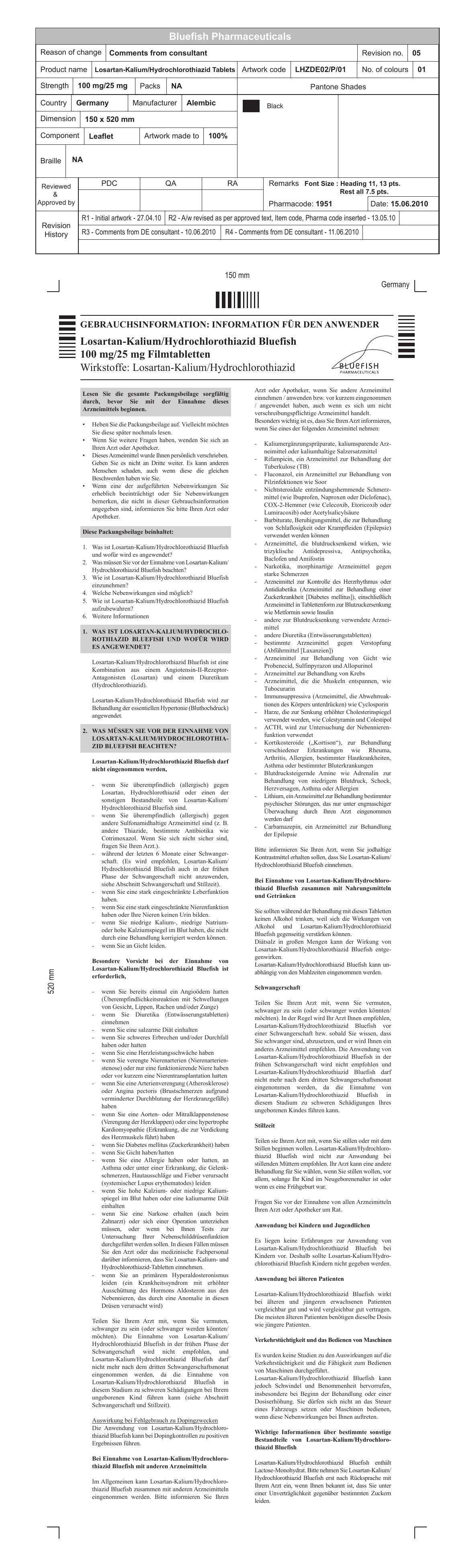 Losartan-HCTZ 100 mg-25mg Leaflet_DE - medikamente-per
