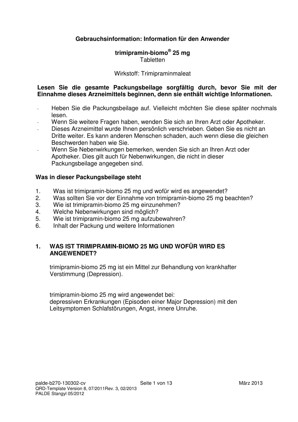 Information für den Anwender trimipramin