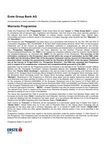 Erste Group Bank AG Warrants Programme