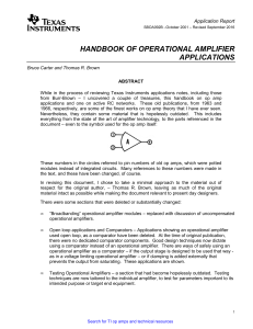 HANDBOOK OF OPERATIONAL AMPLIFIER AND APPLICATIONS