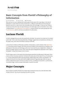 Basic Concepts from Floridi's Philosophy of Information